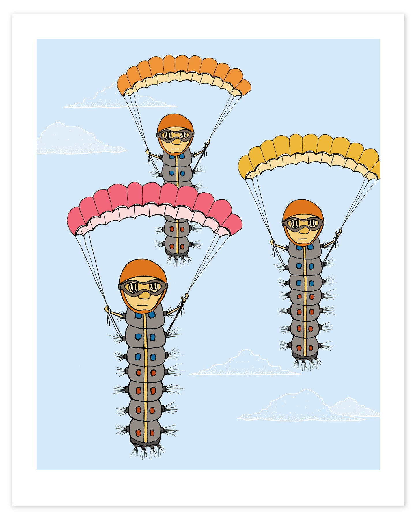 Caterpillars with Parachutes Print