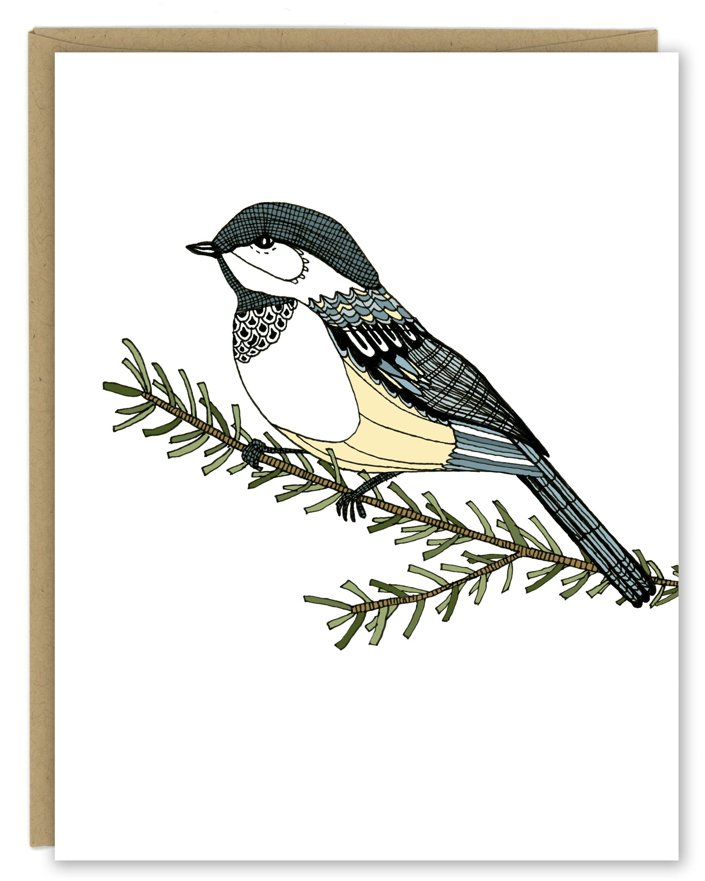 A greeting card with a hand-drawn ink illustration of a chickadee resting on a branch. Shown with a Kraft paper envelope on a white background.