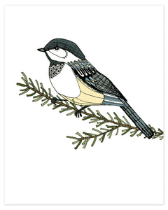 A print of a hand-drawn ink illustration of a chickadee resting on a branch. Shown on a white background.