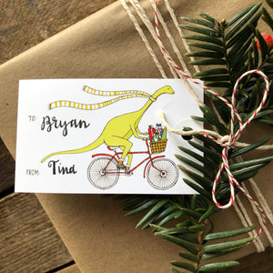 Dinosaur on a Bicycle Holiday Gift Tag Set