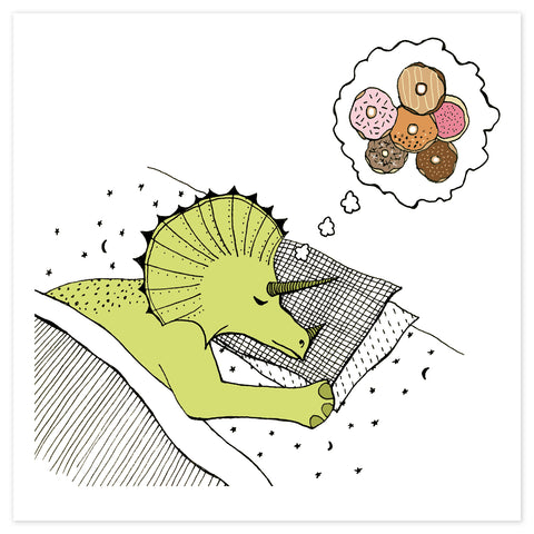 Dinosaur Dreams of Donuts print