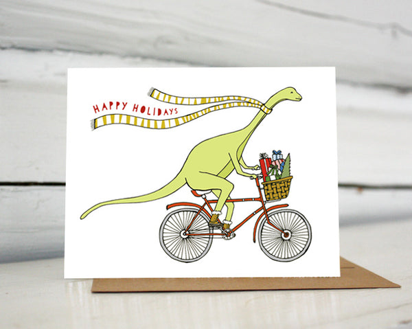 Dinosaur on a Bicycle Holiday Card — Boxed Sets and Singles