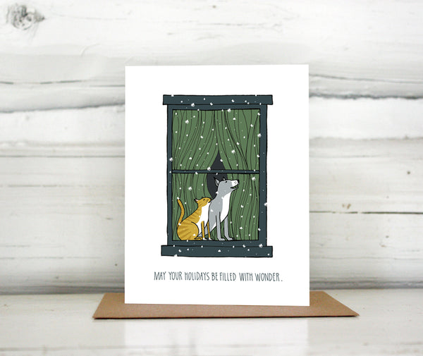 Dog and Cat in a Snowy Window Holiday Card — Boxed Sets and Singles