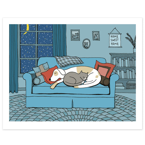 Dog and Cat Snuggle on a Winter's Eve Print