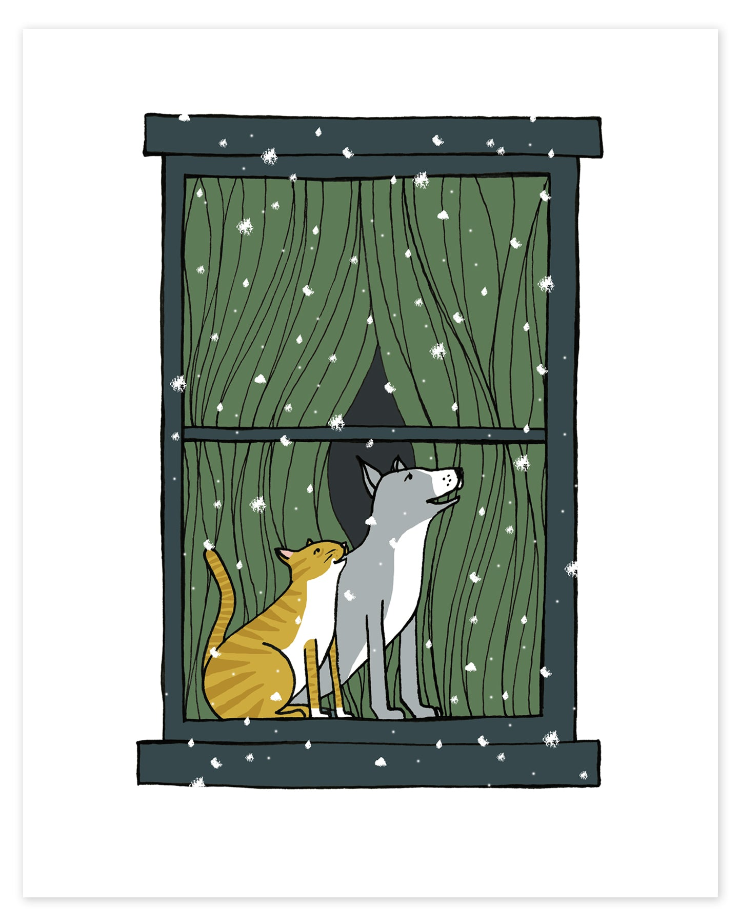 Snowy Night of Wonder with Cat and Dog Print