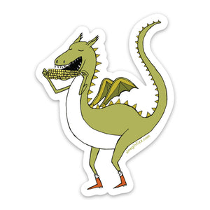 A sticker with a hand-drawn green dragon eating corn on the cob and wearing little red boots. On a white background.