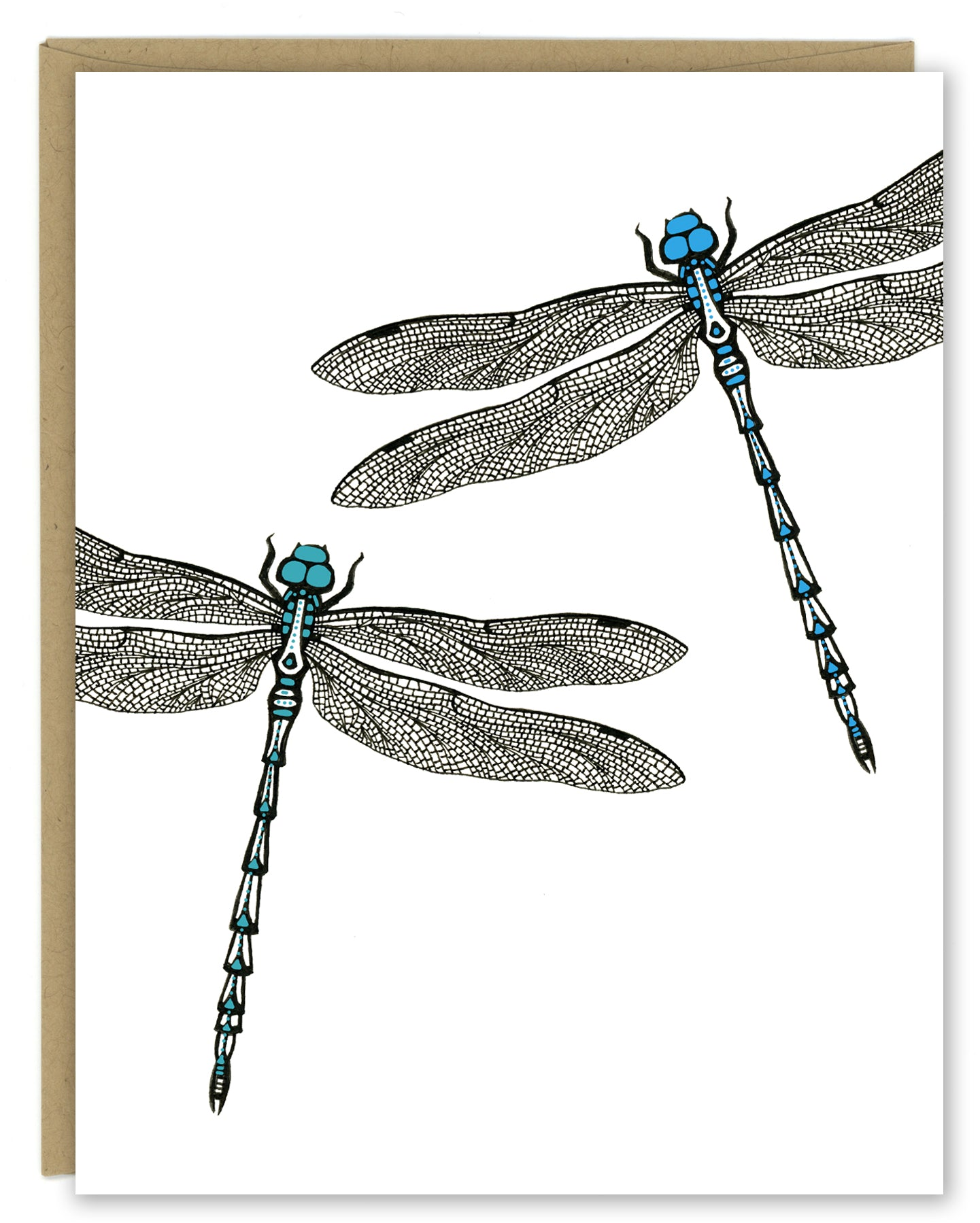 A greeting card showing a hand-drawn ink illustration of two dragonflies, one with blue highlights and one with teal accents. Shown with a Kraft paper envelope on a white background.