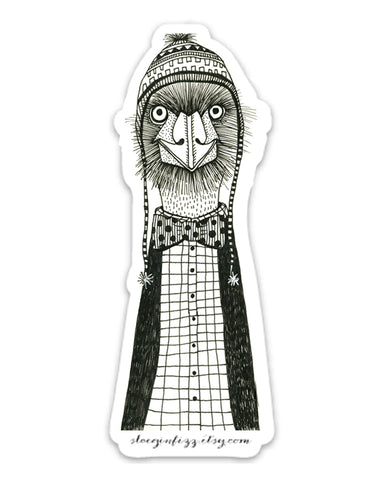 A black and white hand-drawn ink illustration of an emu or ostrich wearing a ski hat with tassels, a polka-dotted bowtie, plaid shirt and cardigan.
