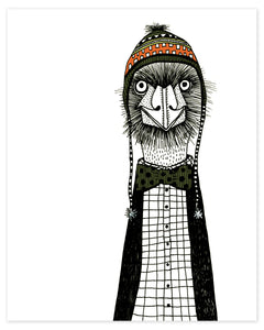 Emu with a Ski Hat Print