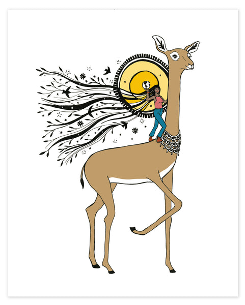 Mighty Woman and Gerenuk Antelope print