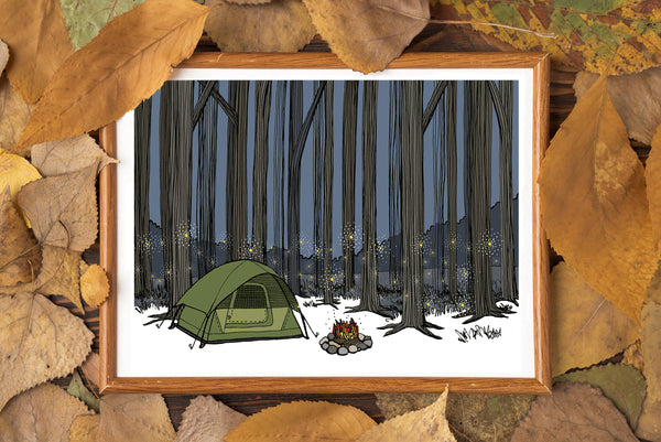 Camping Among the Tall Trees and Fireflies Print