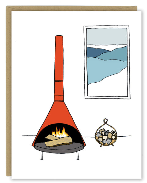 MCM Fireplace Greeting Card