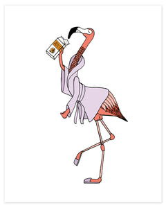 Flamingo Drinking Juice from the Carton Print