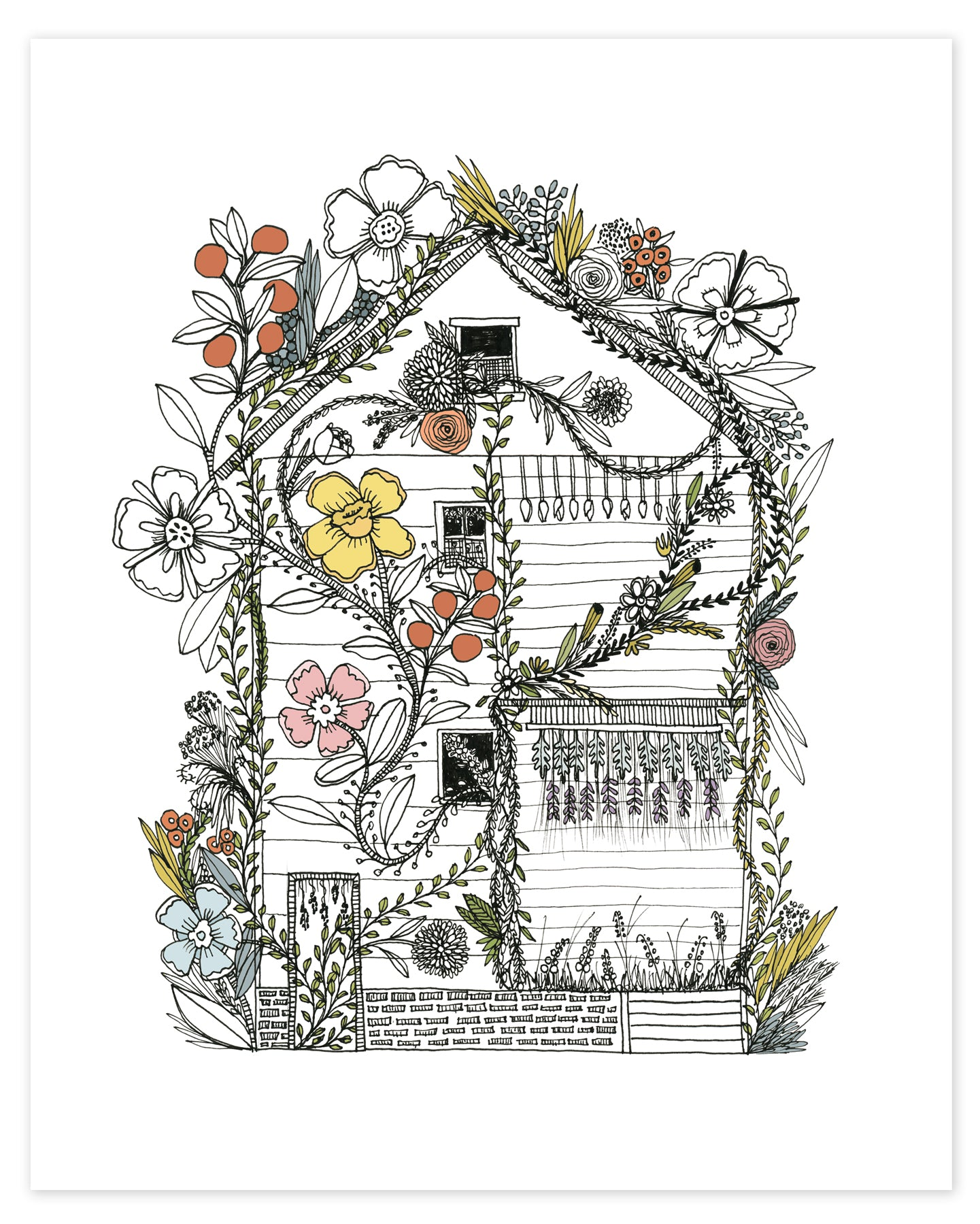 Flower House Detroit Print
