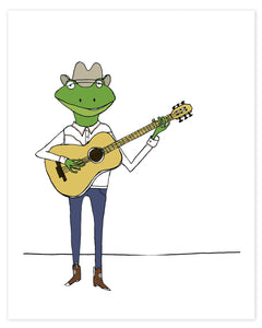 Frog Cowboy Playing the Guitar Print