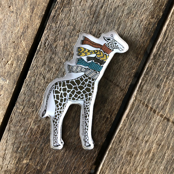 Giraffe with Scarves Refrigerator Magnet