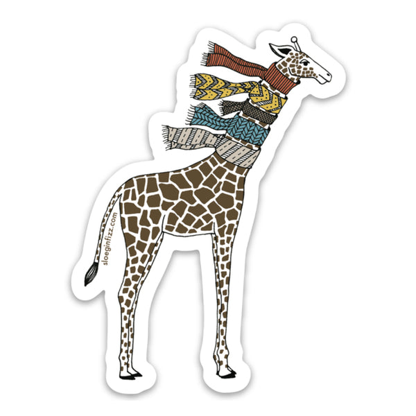 An illustrated vinyl sticker of a hand-drawn giraffe wearing five knit scarves on its neck, shown on a white background.