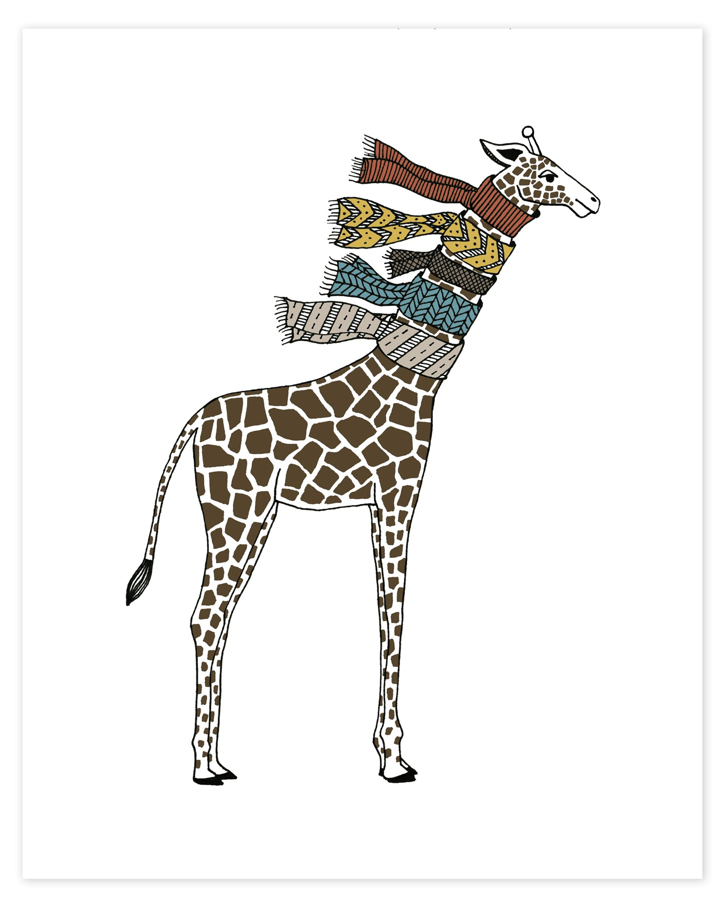 A print of a hand-drawn illustration of giraffe wearing five knit scarves on its neck. Shown in a white background.