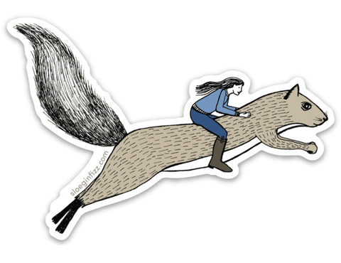 An illustrated vinyl sticker of a hand-drawn ink illustration of a woman in a blue sweater and tall riding boots riding on the back of a brown squirrel woh is running, shown on a white background.