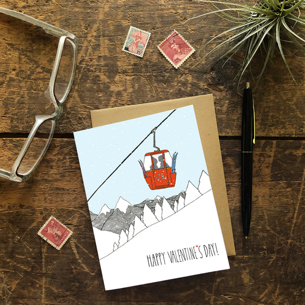 Gondola Chairlift Valentine Greeting Card