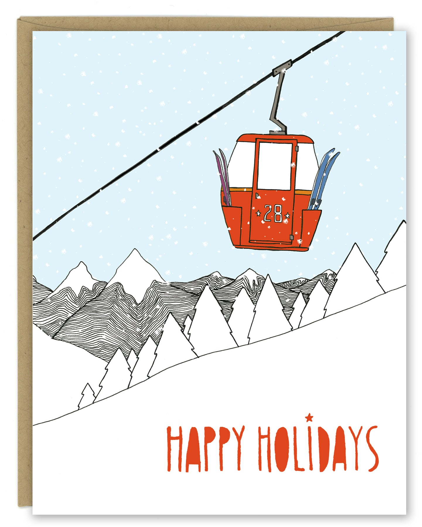 Ski Gondola Holiday Card