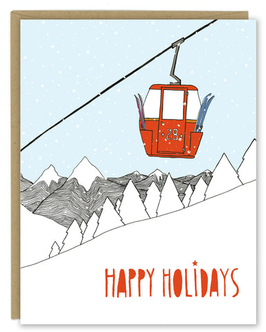 Ski Gondola Holiday Card — Boxed Sets or Singles