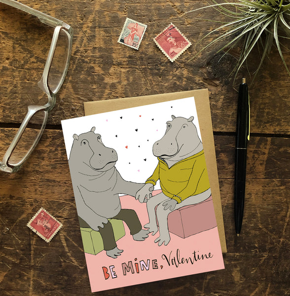 Hippos Hesitantly Hold Hands Greeting Card