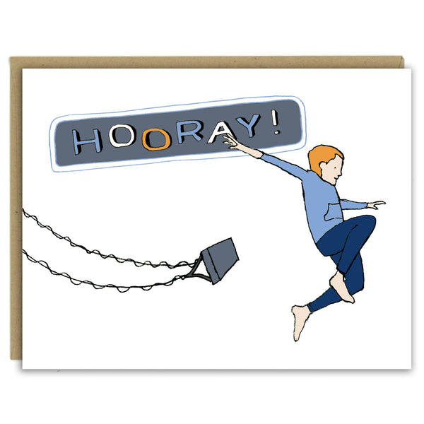 "A greeting card showing a hand-drawn illustration of a red-headed boy wearing navy blue pants and a blue gray sweatshirt, arms spread wide, jumping off a high-flying swing. ""Hooray!"" says the land-lettered message on the card. Shown with a Kraft paper envelope on  a white background."