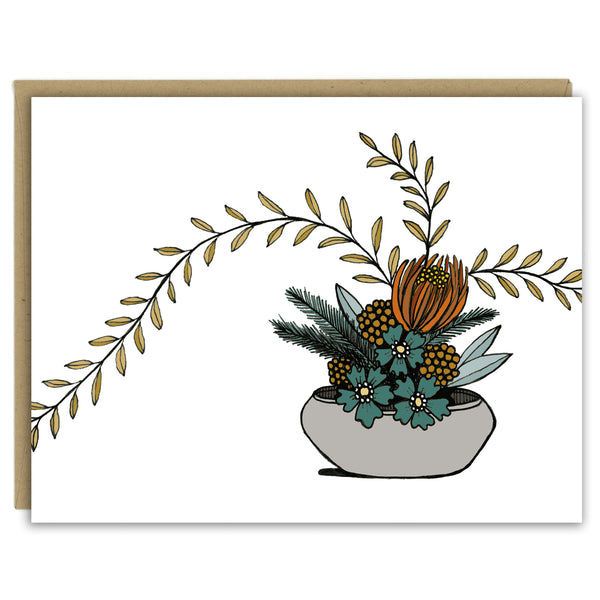 Ikebana Flower Arrangement Greeting Card