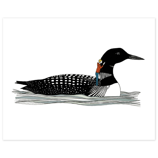 A print of a hand-drawn illustration of a black and white loon floating gently on the waves. A small woman with a yellow bob wearing jeans and a burnt orange hoodie stands on the loon's back with one hand resting on its neck. Shown on a white background.