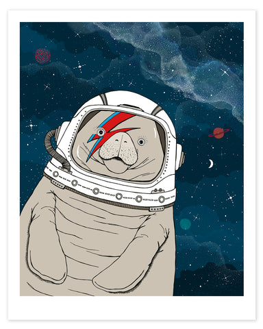 A hand-drawn illustration of a manatee floating in space, wearing an astronaut's helmet with a red and blue lightning bolt over one eye like the iconic image of David Bowie on his Aladdin Sane album cover.