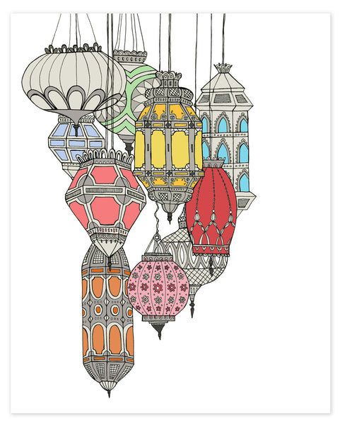 Colorful Moroccan Lanterns Print