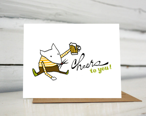 Cheers to You Mouse with Beer Greeting Card