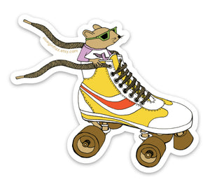 Mouse Racing in a Roller Skate Vinyl Sticker