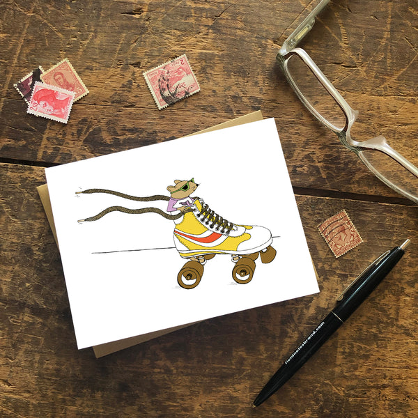 Mouse Racing in a Rollerskate  Greeting Card