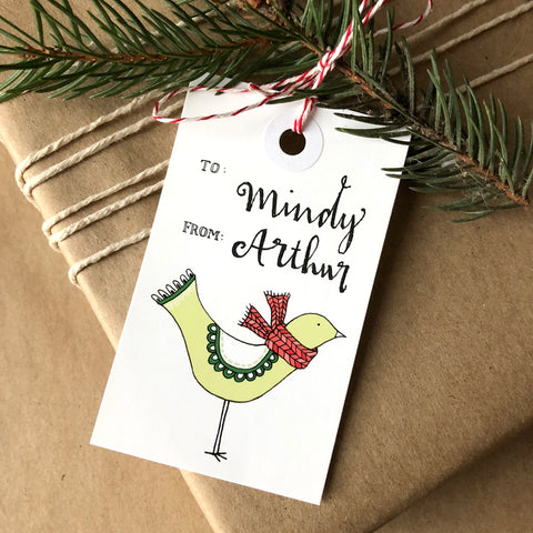 Yellow Bird with a Scarf Holiday Gift Tag Set