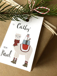 Alpaca Holiday Gift Tag Set