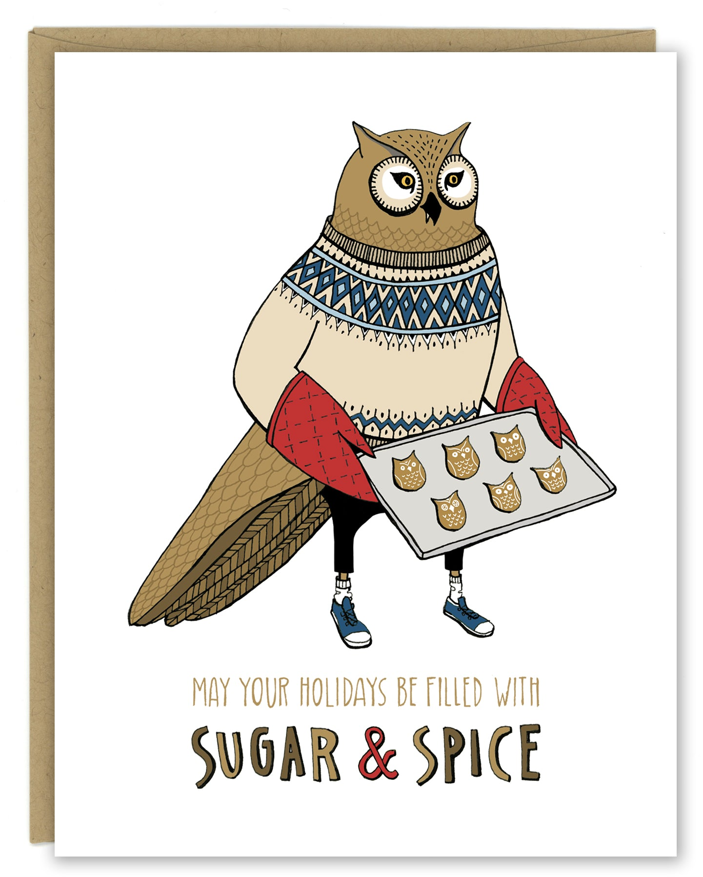 Owl Sugar and Spice Holiday Card — Boxed Sets or Singles
