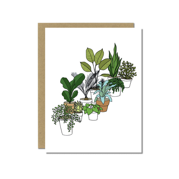 A greeting card showing a hand-drawn illustration of a collection of houseplants. Shown with a Kraft paper envelope on a white background.