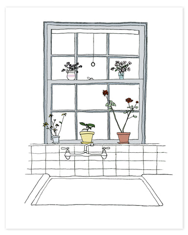 Plants on the Kitchen Window Sill print