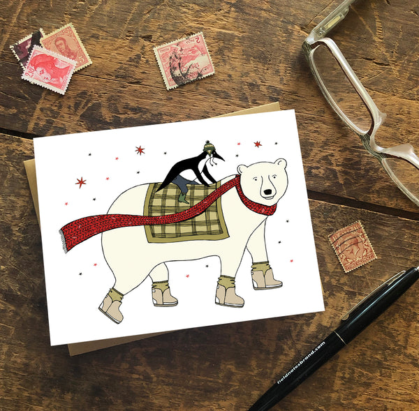 Polar Bear and Penguin Holiday Cards — Boxed Sets or Singles
