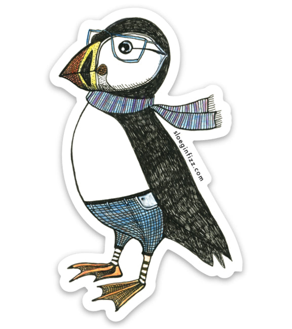 A sticker with a hand-drawn ink illustration of a dapper puffin in glasses, jeans and a scarf on a white background.