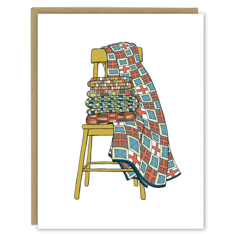 Quilts on a Chair Greeting Card