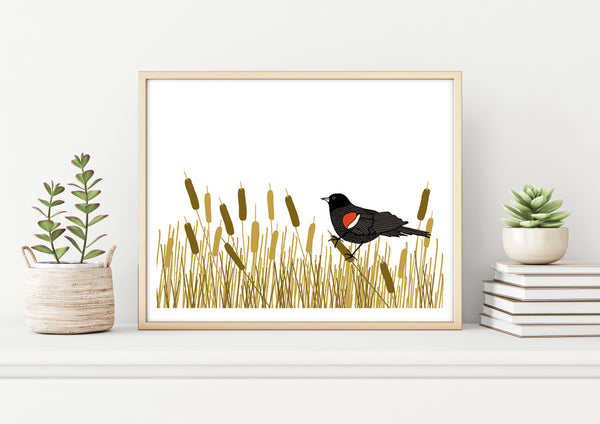 A print of a hand-drawn illustration of red-winged blackbird resting amongst a swath of cattails. Shown in a birch frame on a shelf with two potted plants and a stack of books.