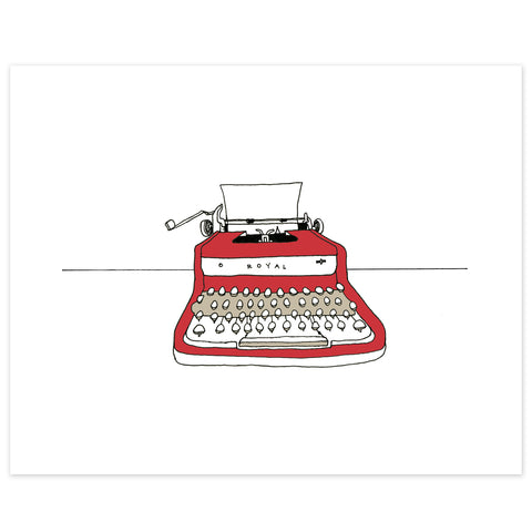 A print of a hand-drawn ink illustration of red Royal vintage typewriter with a piece of blank paper loaded in it. Shown on a white background.
