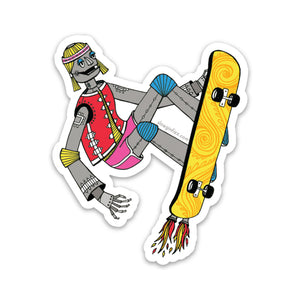 Skateboarding Robot Vinyl Sticker