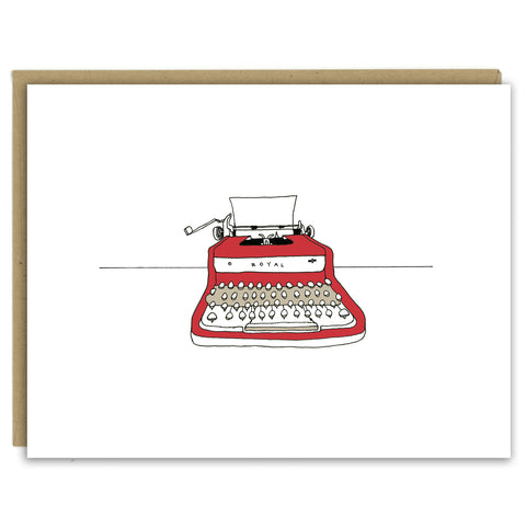 A greeting card showing a hand-drawn illustration of red Royal vintage typewriter with a piece of blank paper loaded in it. Shown with a Kraft paper envelope on a white background.