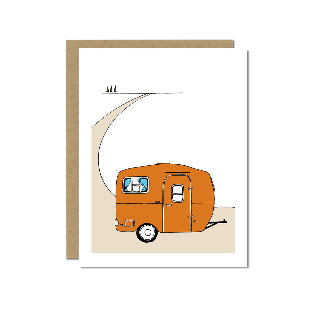 Orange Scamp Camper Greeting Card