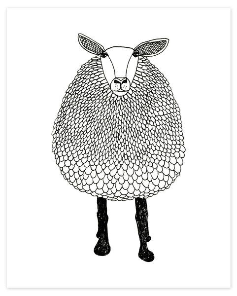 A print of a hand-drawn black and white ink illustration of a sheep. Shown on a white background.