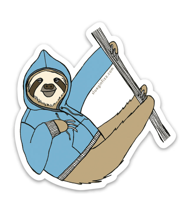Sloth in a Hoodie Vinyl Sticker